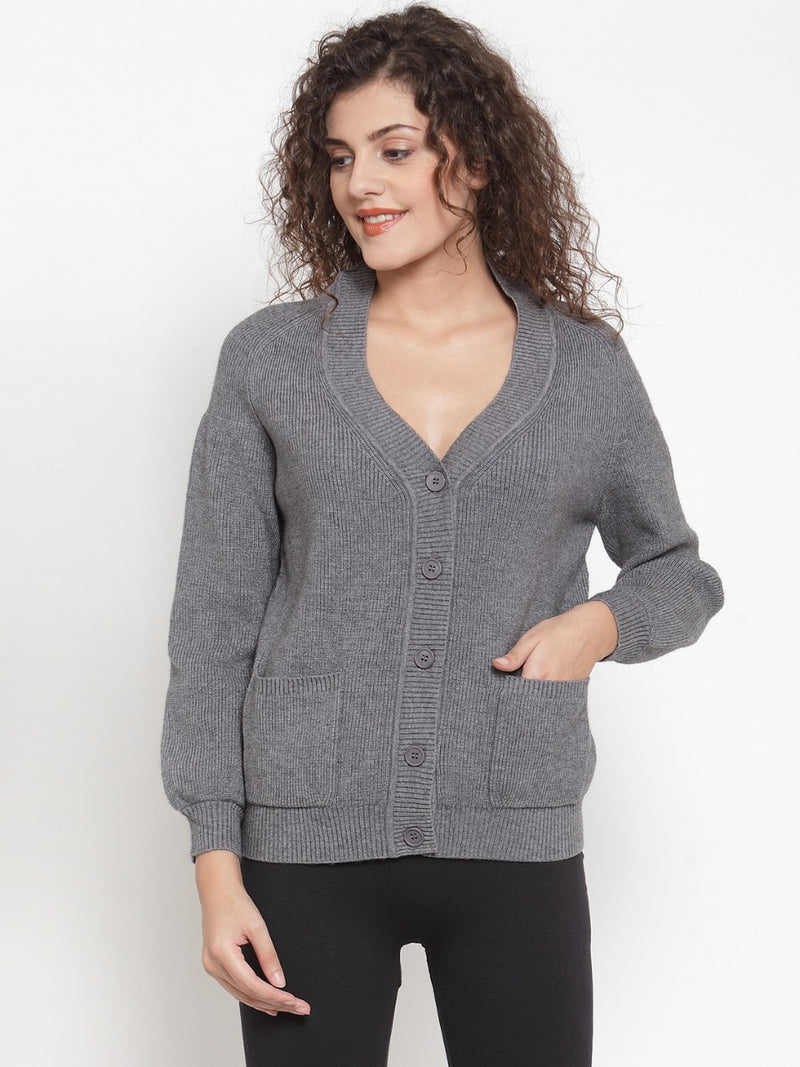 Women Solid Grey Cardigans With Pockets