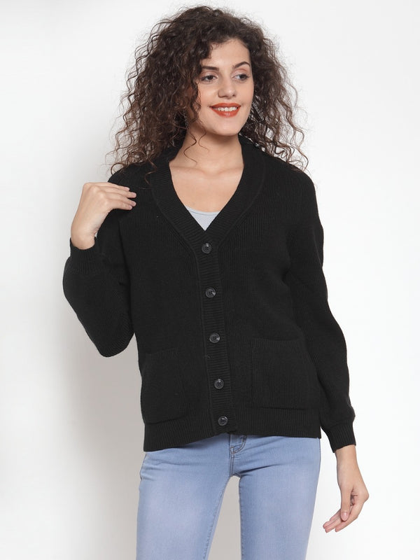 Women Solid Black Cardigans With Pockets