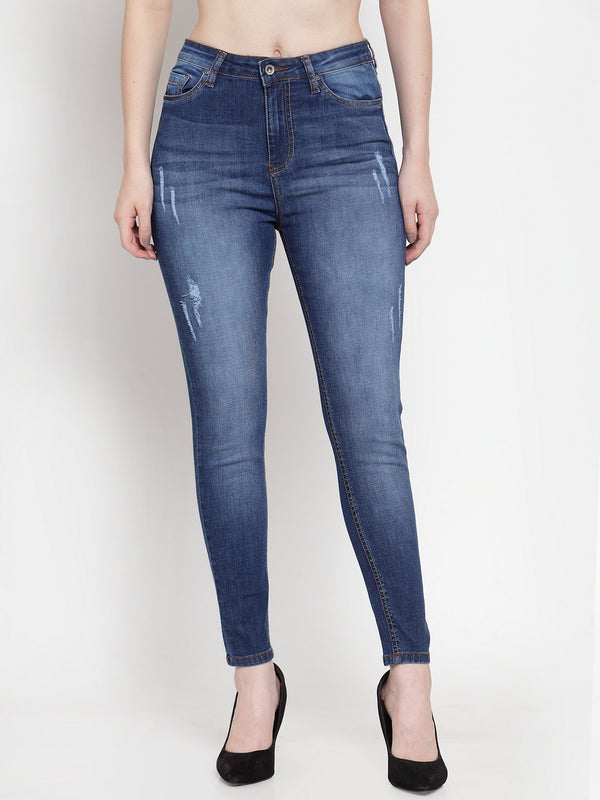 Women Dark Blue Denim Solid Jeans