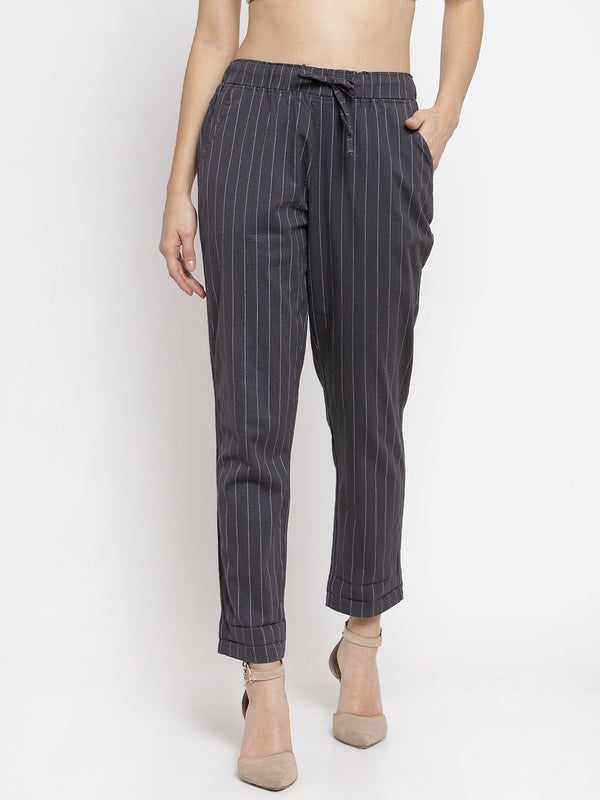 Women Striped Grey Cotton Lower