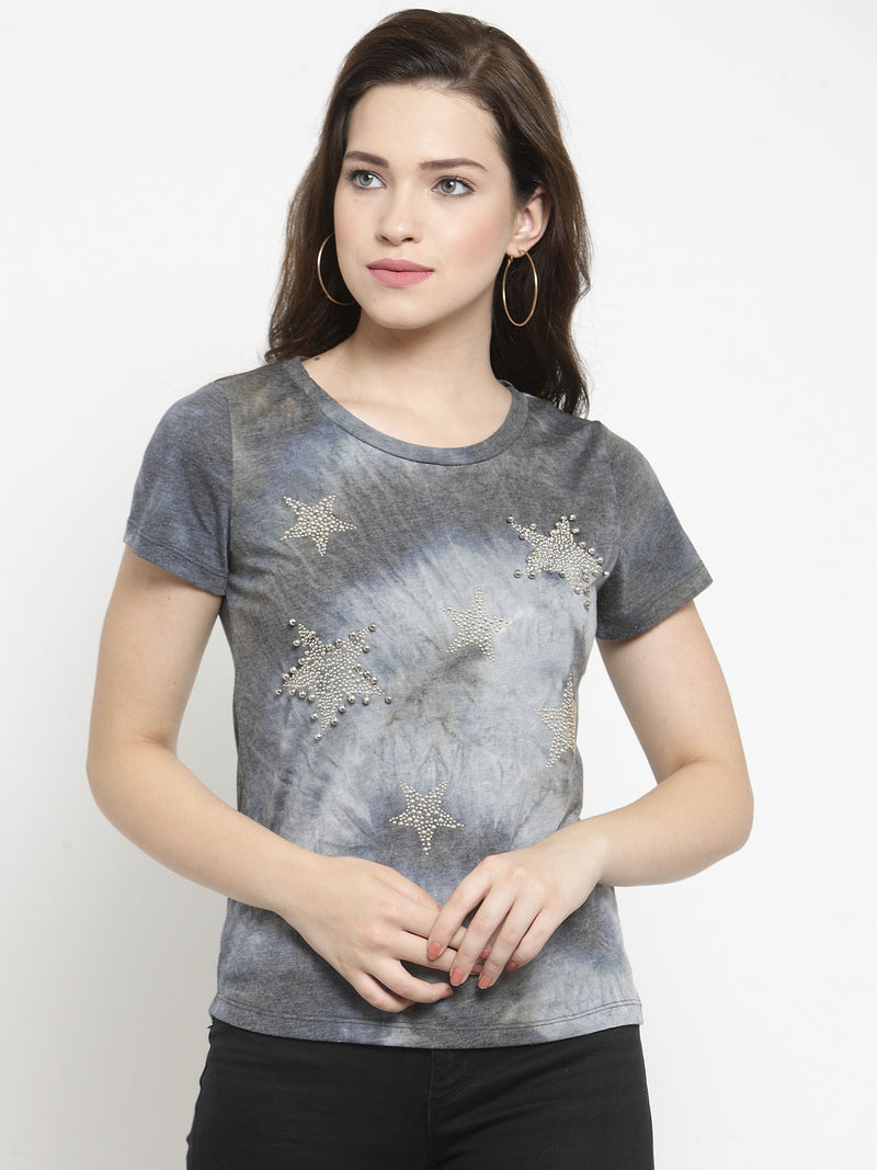 Women Grey  Round Neck Regular Fit Tops