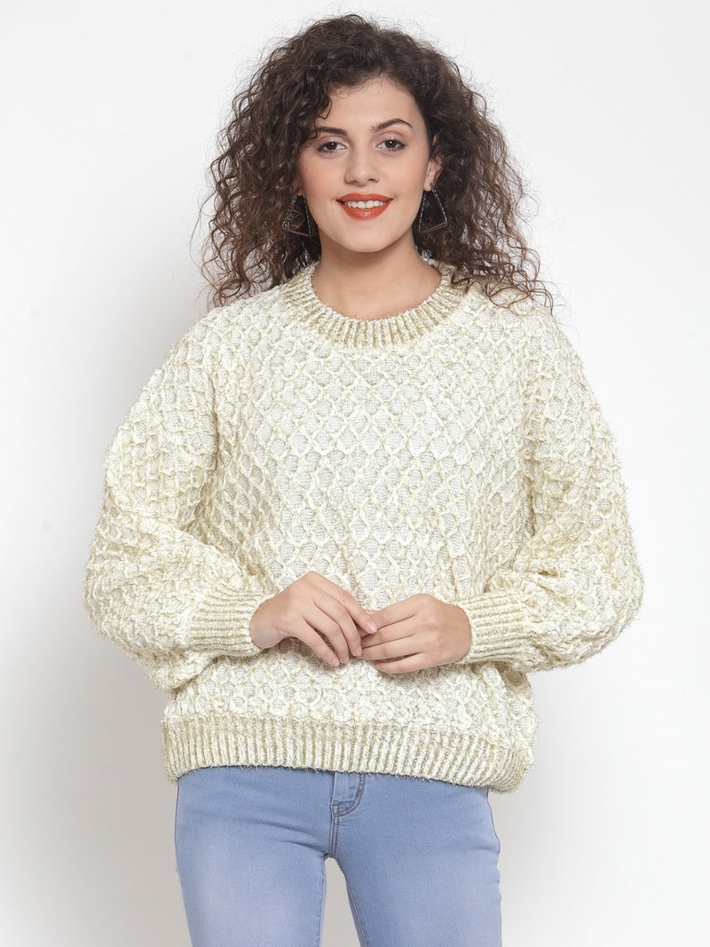 Women Embroidered White Round Neck Pullover