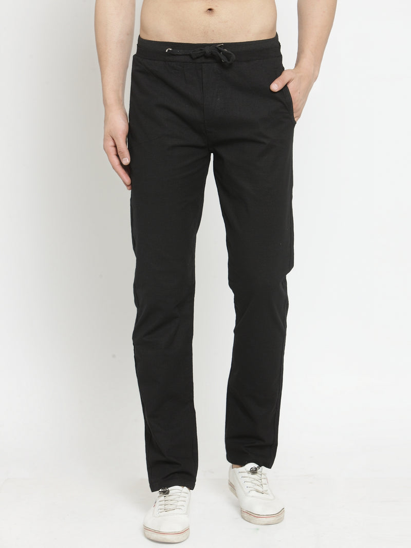 Mens Black Solid Regular Fit Lower