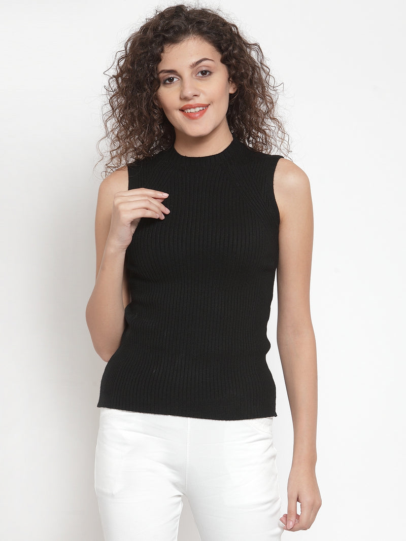 Women Black Knitted Sleeveless Skeevi Pullover