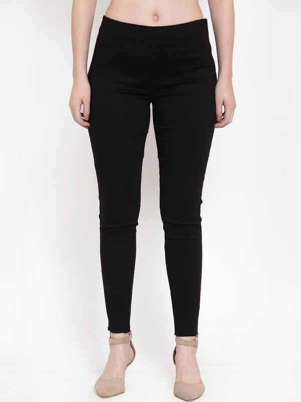 Women Black Poly Viscose Lycra Solid Trouser