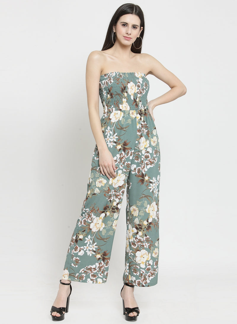 Women Green Printed Tube Jumpsuit With Smocking