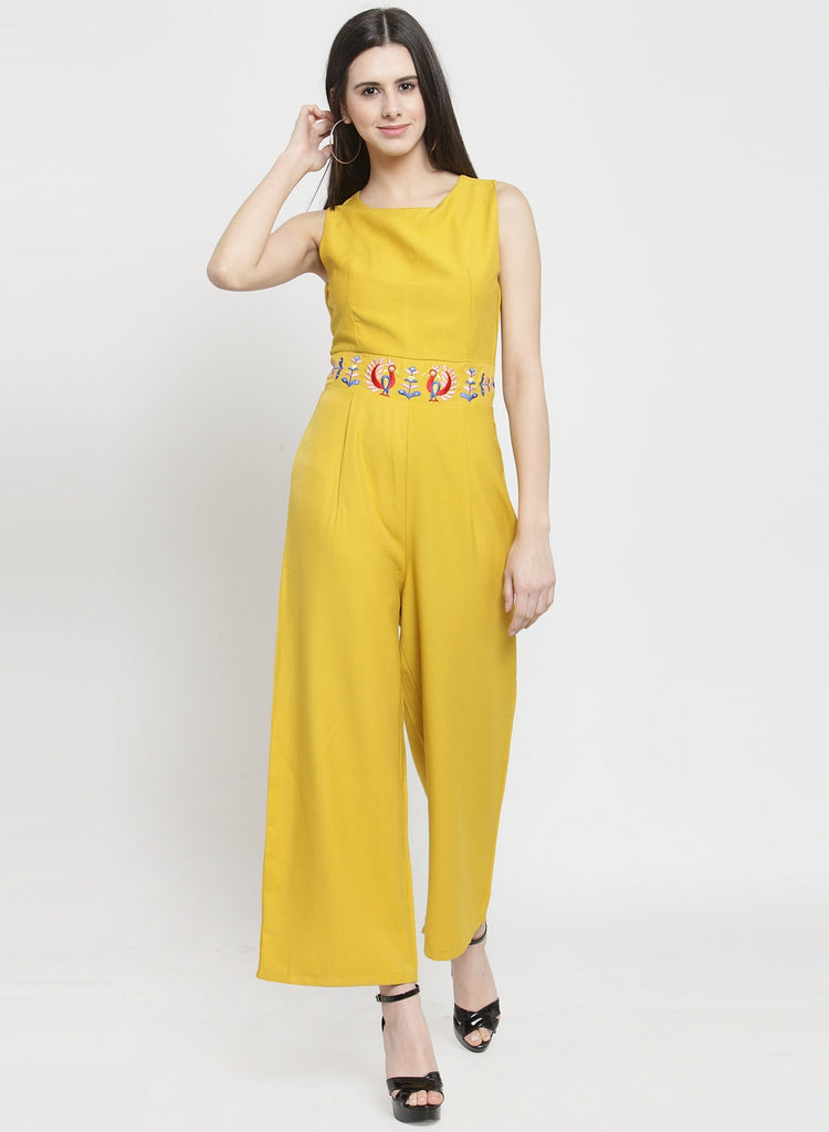 Women Solid Yellow V-Neck Jumpsuit