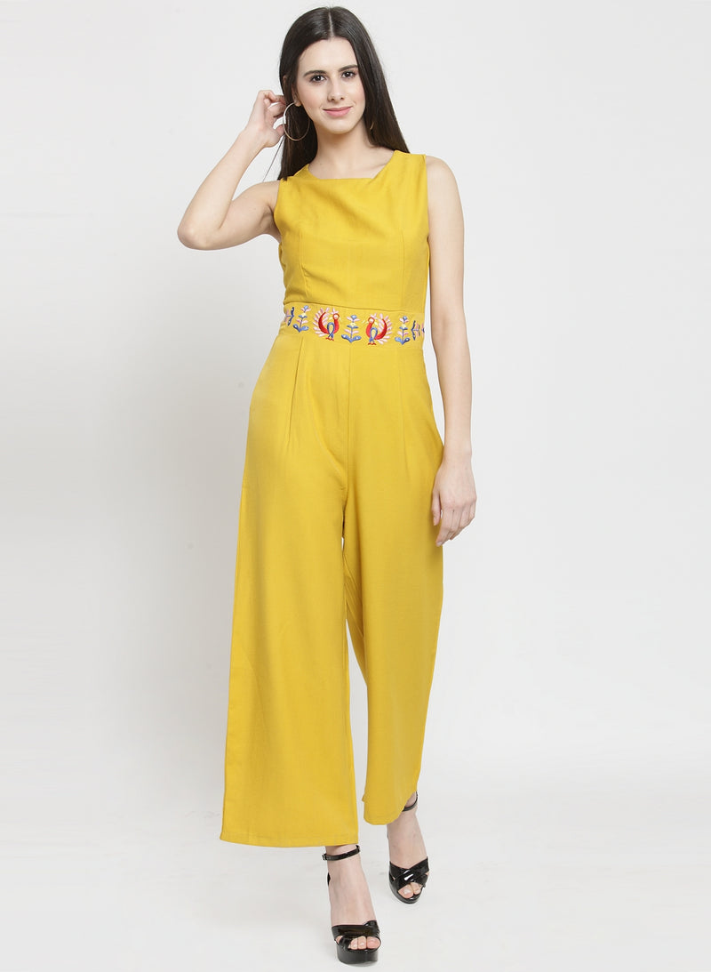 Women Solid Yellow Jumpsuit With Embroidery