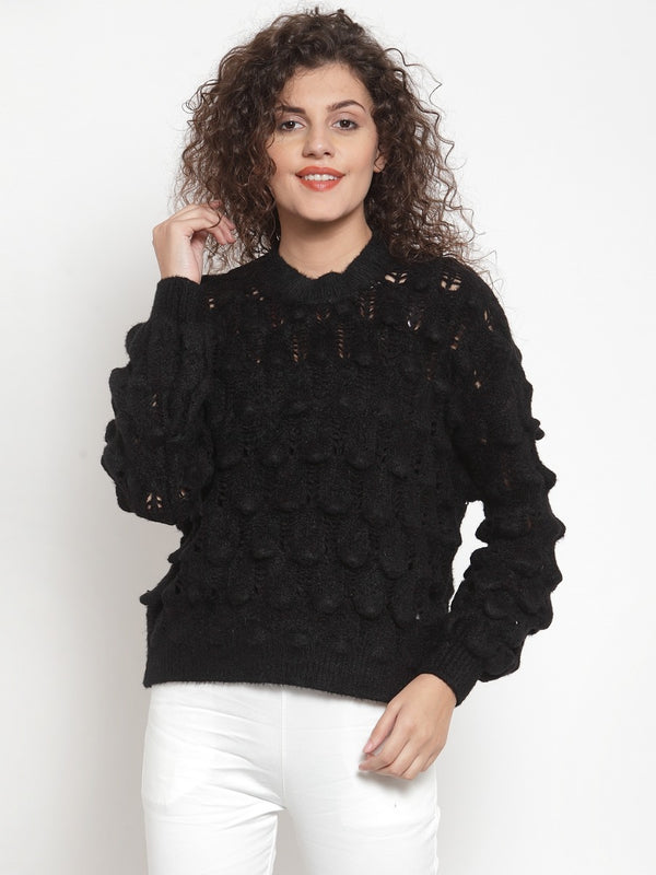 Women Solid Black Shrug