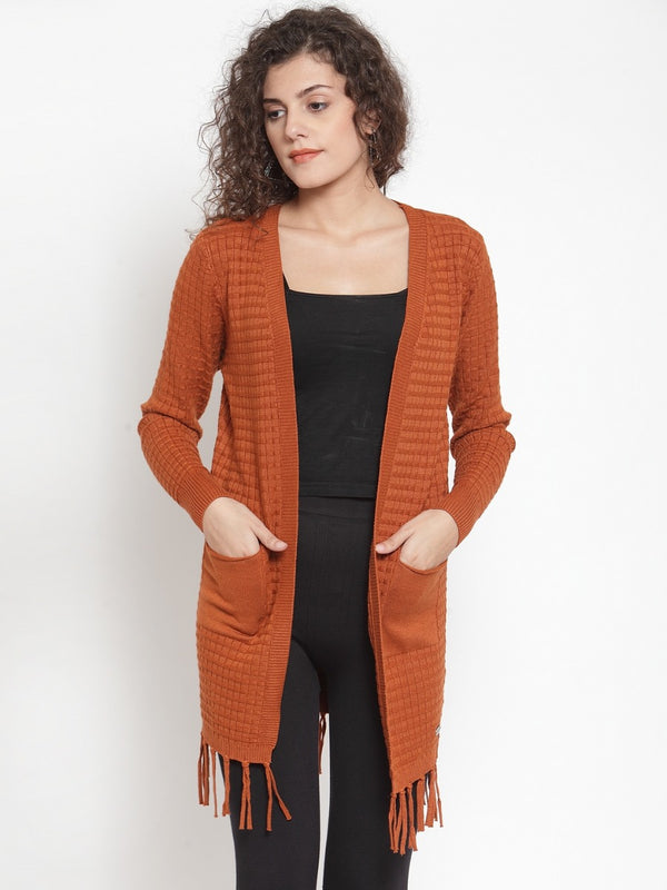 Women Solid Rust Shrug