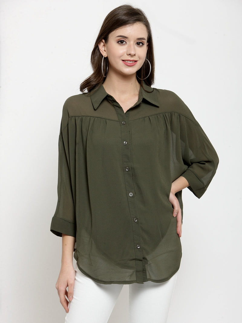 Women Solid Olive Georgette Shirt