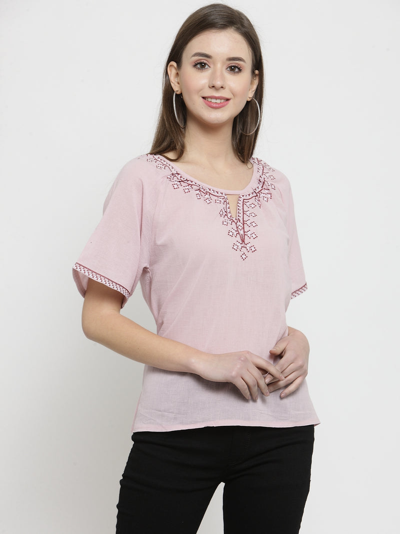 Women Pink Solid Round Embroidered Neck Top