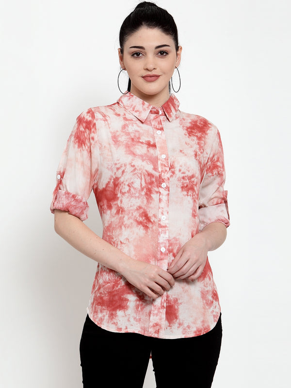 Women Pink Rayon Shirt Collar Colorblocked Shirt