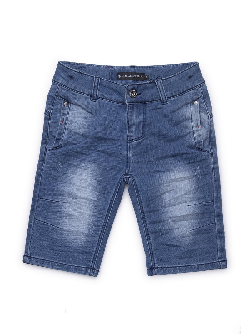 Kids Dark Blue Washed Denim Shorts