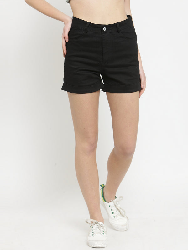 Women Black Solid Tailored Fit Shorts