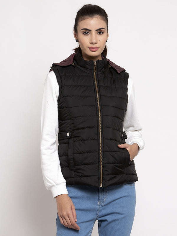 Women Black Solid Hooded Reversible Jacket