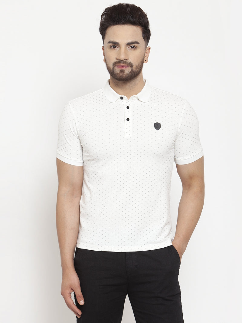 Men Off-White Polka Dot Printed Polo T-Shirt