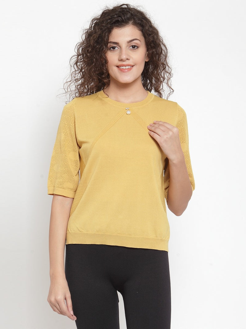 Women Solid Mustard Round Neck Top