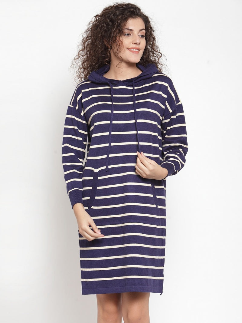 Women Striped Navy Blue Hood Tunic