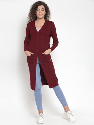 Women Solid Maroon V-Neck Coat