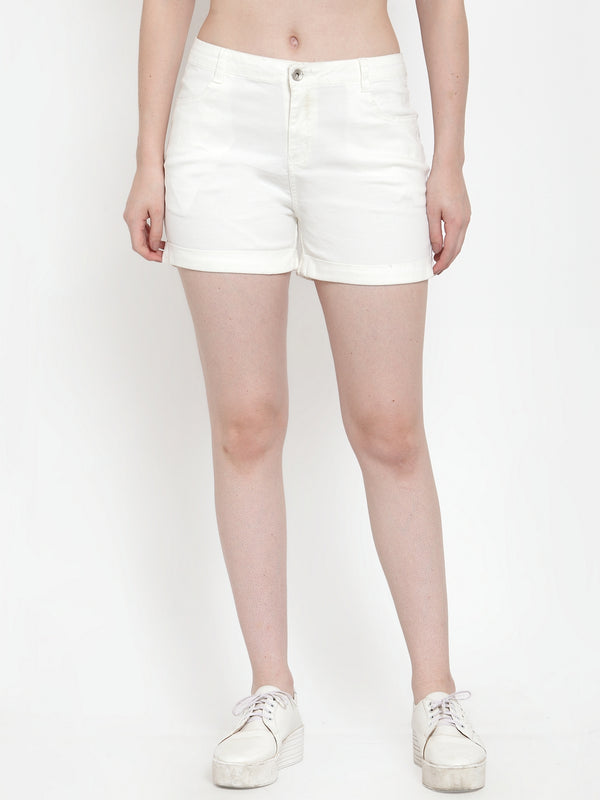 Women Off White Cotton Solid Shorts