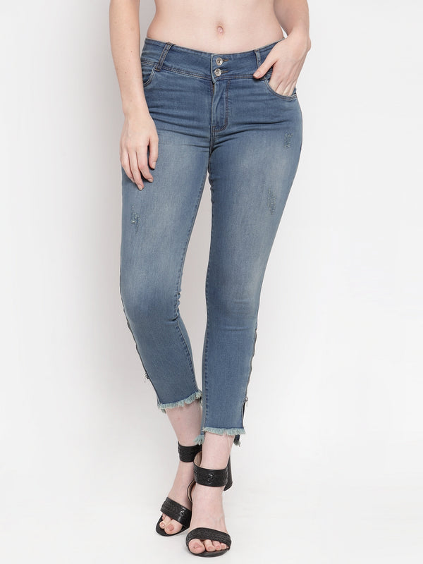 Women Blue Washed Denim Skinny Fitted Jeans