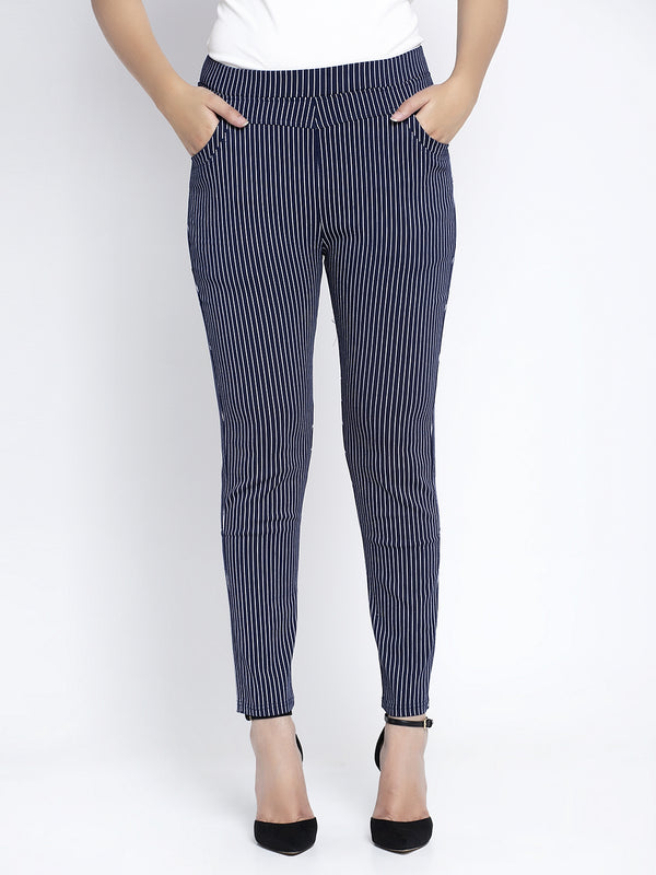 Women Navy Striped Jegging