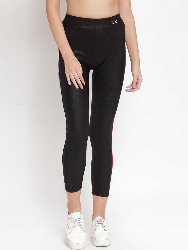 Women Solid Black Cotton Blend Legging