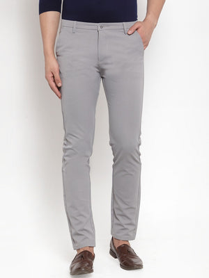 Mens Grey Solid Regular Fit Trouser
