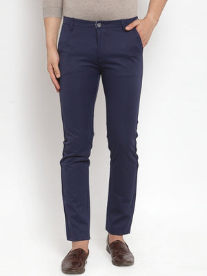 Mens Navy Solid Regular Fit Trouser