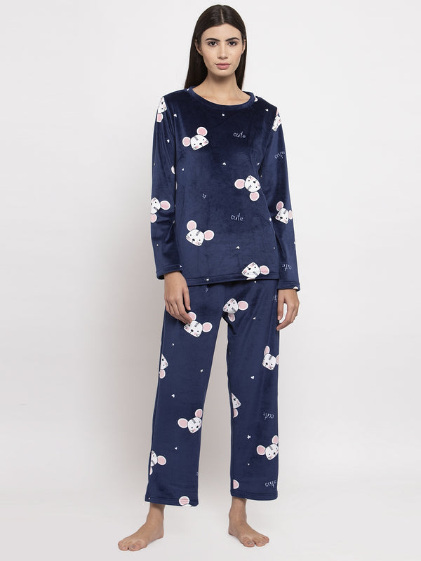 Women Navy Blue Printed Round Neck Night Suit