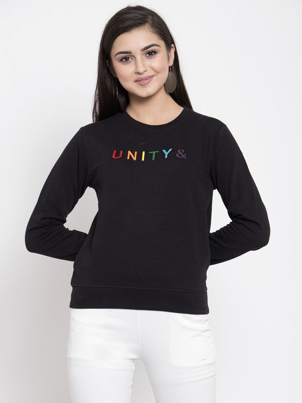 Women Printed Black Round Neck Sweatshirt