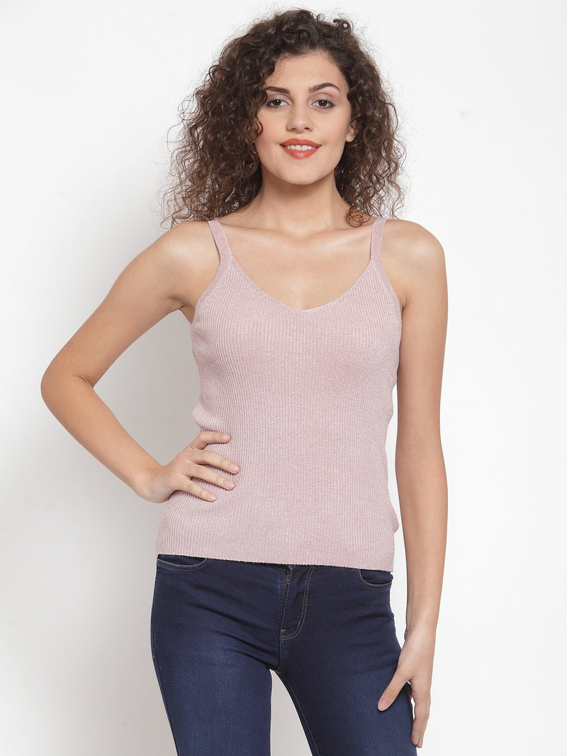 Women Solid Pink Colored Knitted Tank Top