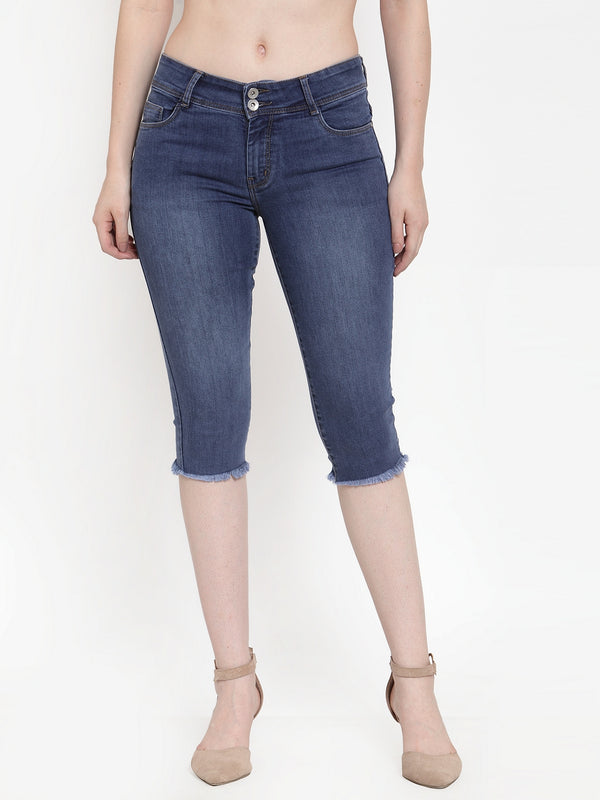 Women Blue Denim Solid Capri