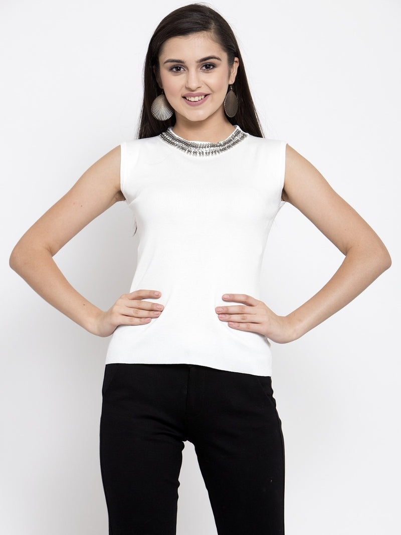 Women Embellished Off White Jewel Neck Top
