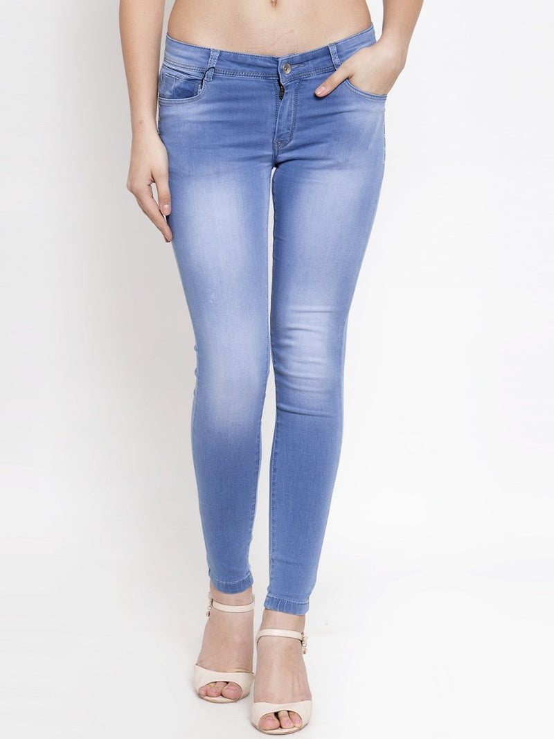Women Light Blue Washed Skinny Fitted Jeans