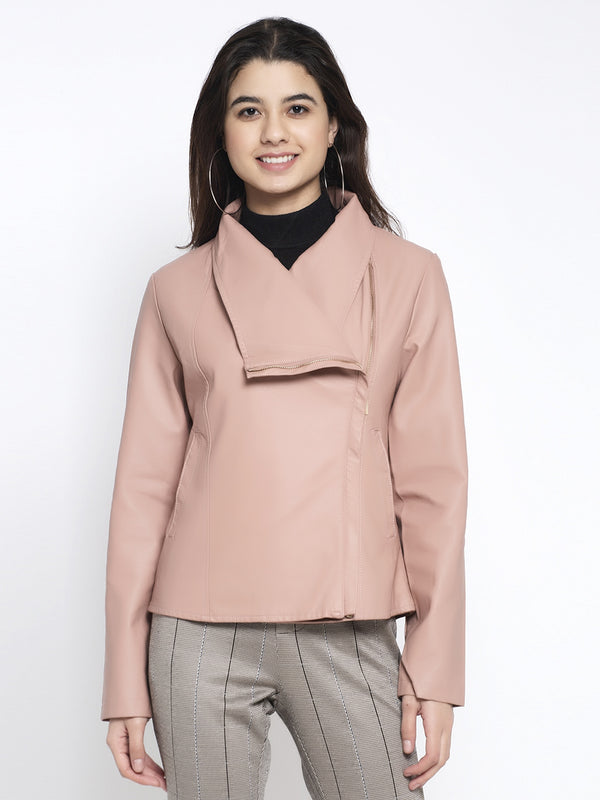 Women Pink Collared Solid Jacket