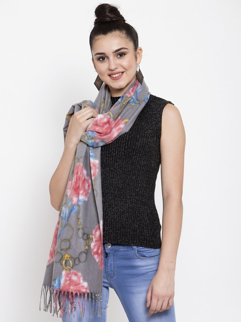 Women Grey Floral Printed Viscose Scarf