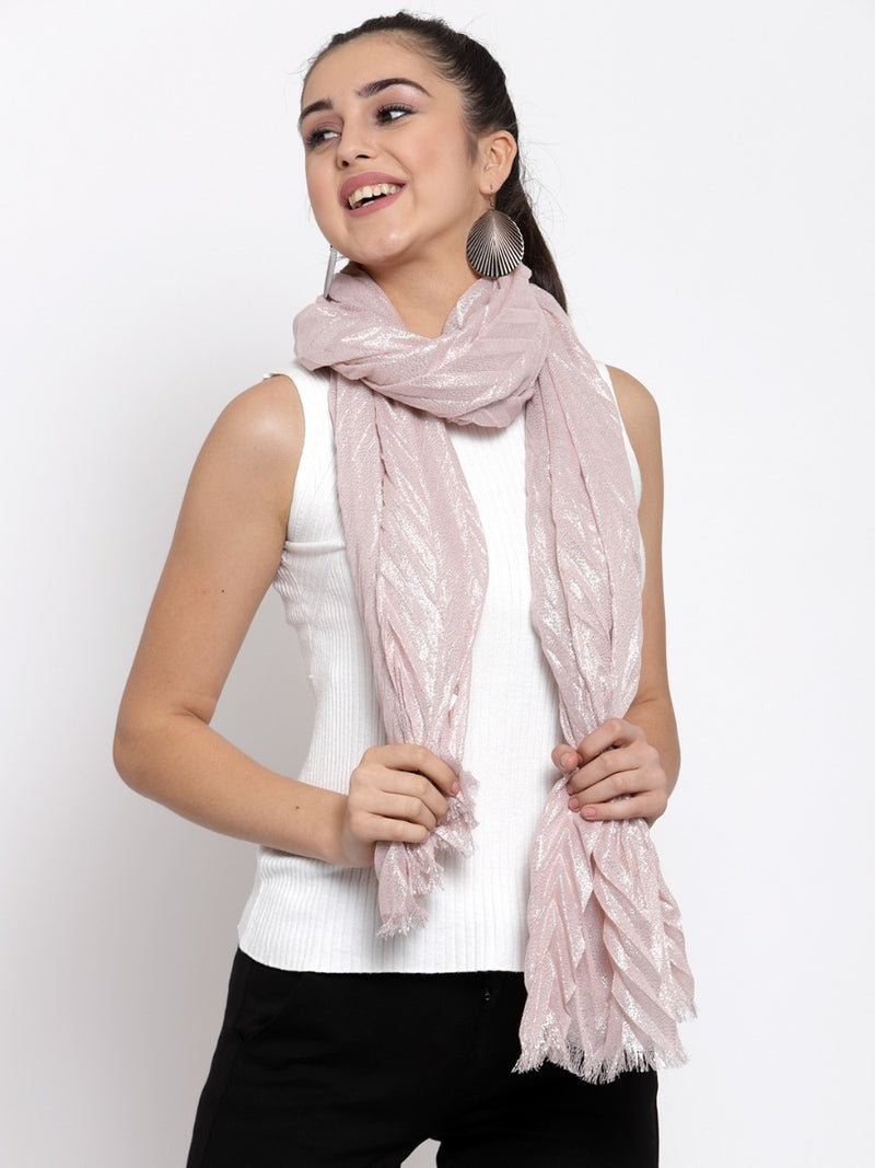 Women Pink Chevron Printed Scarf
