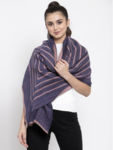 Women Purple Spiral Stripe Printed Winter Scarf