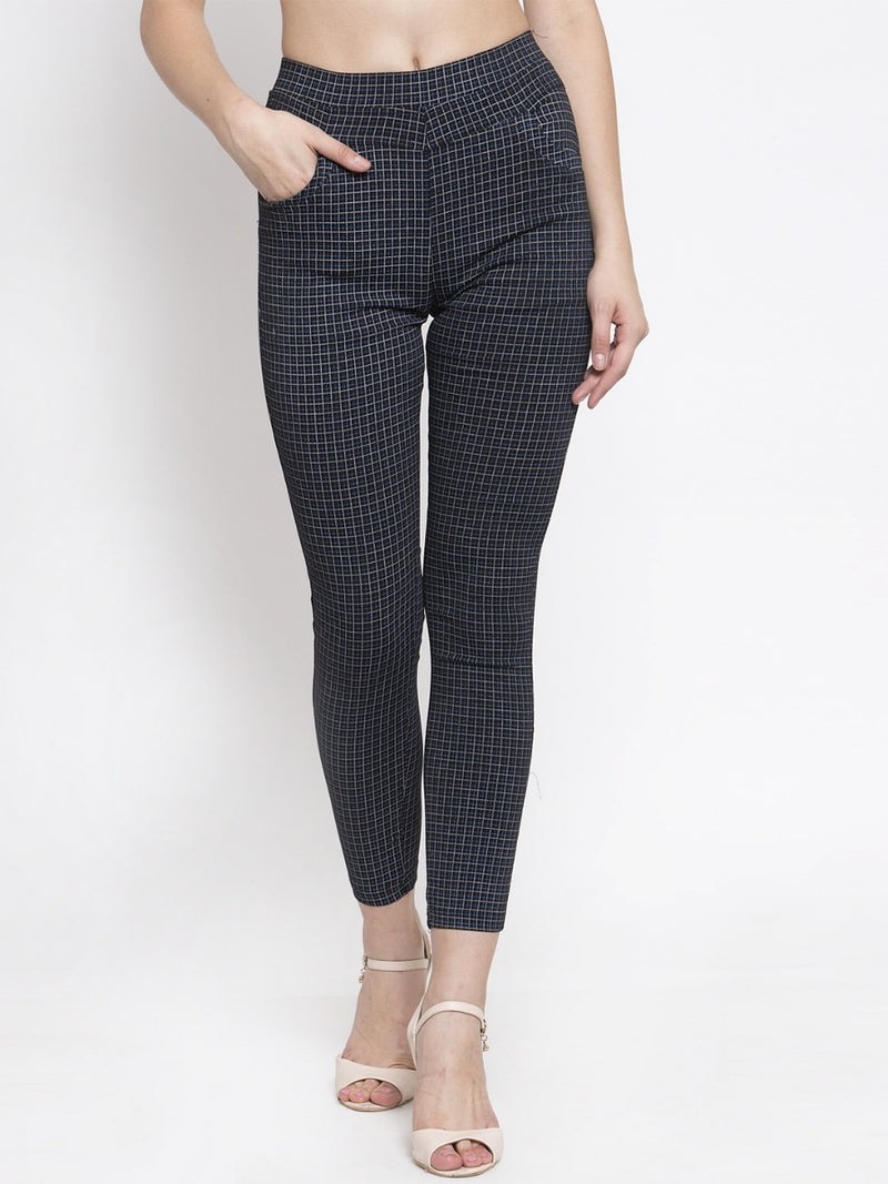 Women Checked Black Polyester Jegging