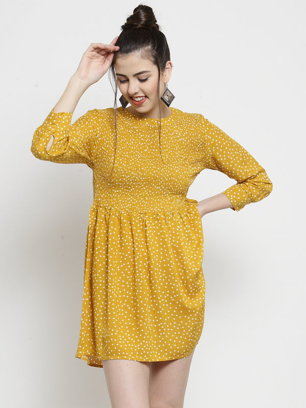 Women Mustard Printed Tunic