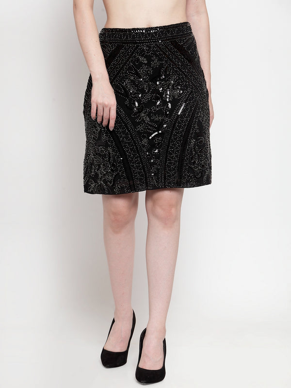 Women Sequinned Black Skirt