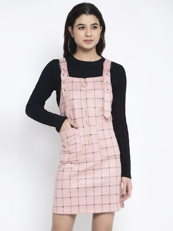 Women Pink Shoulder Strap Checked Dungaree