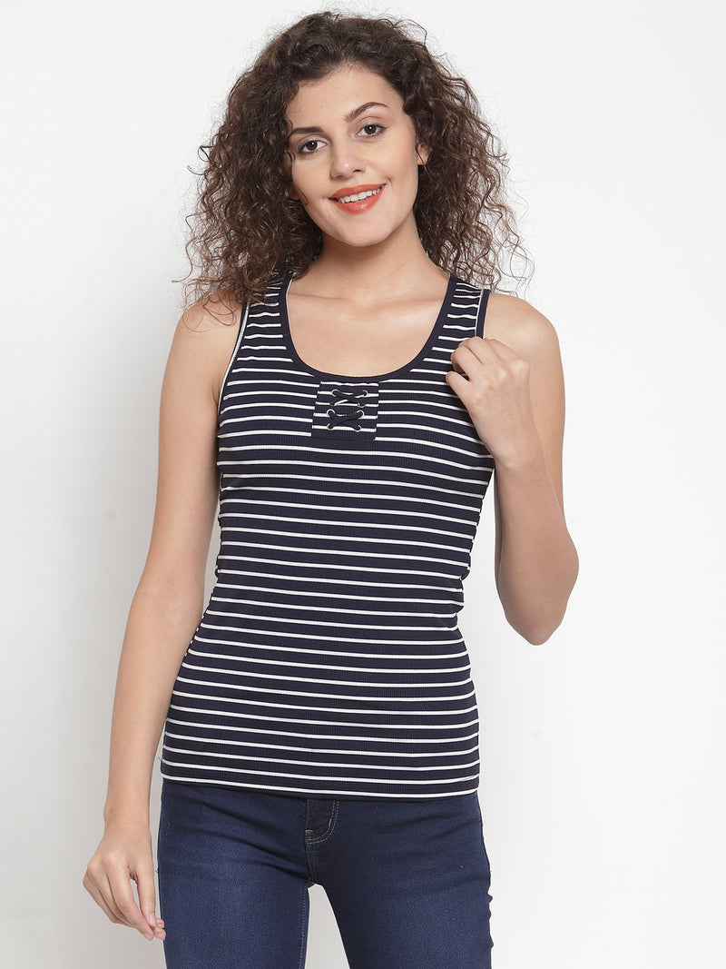 Women Navy Blue Striped Tank Top