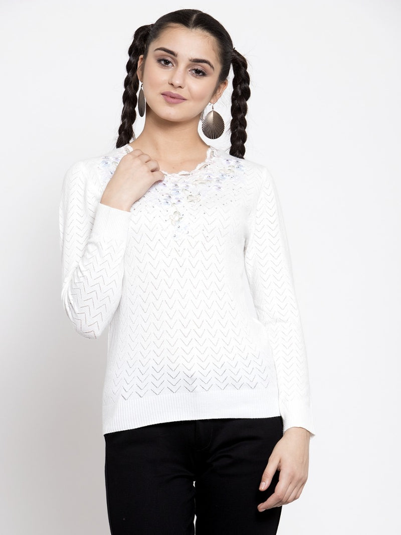 Women Solid Off White Round Neck Pullover