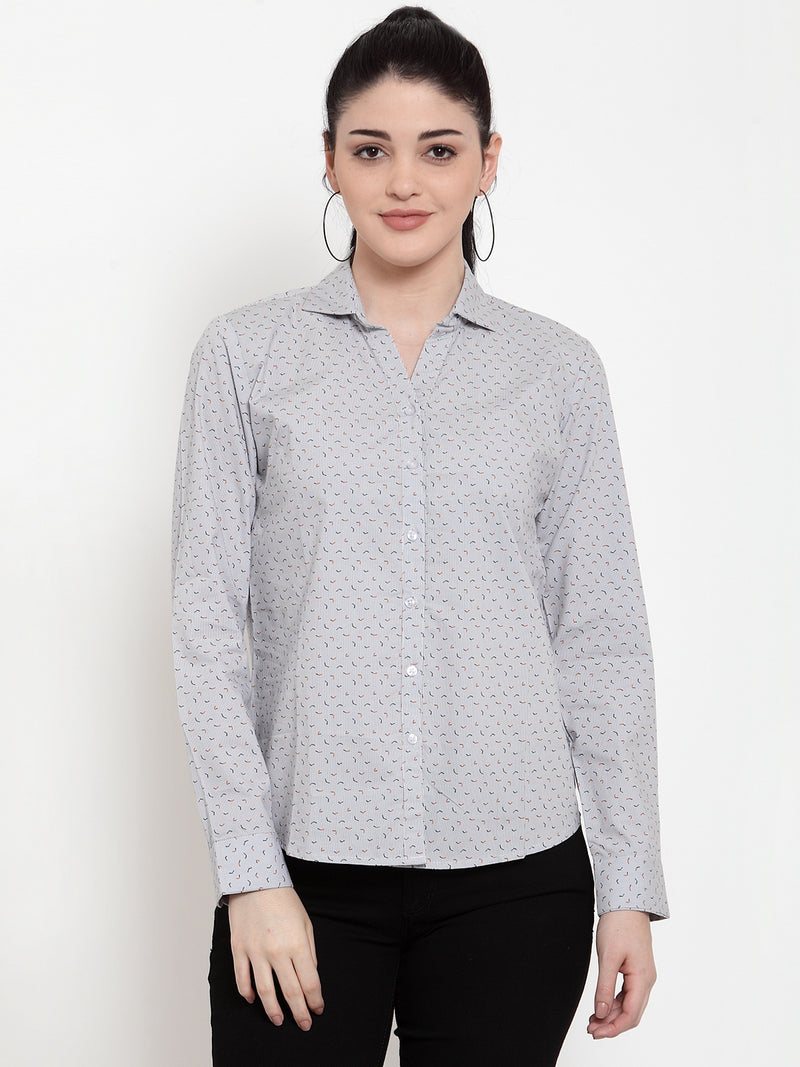 Women Grey Cotton Shirt Collar  Shirt