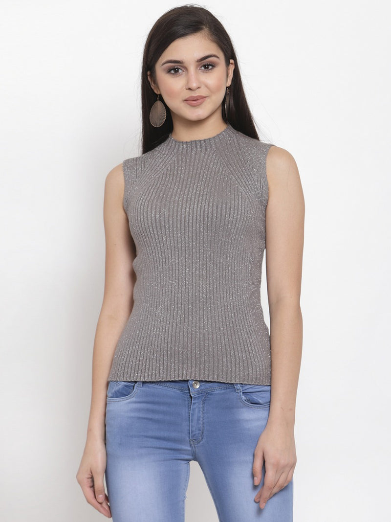 Women Grey Silver Knitted Sleeveless Skeevi Pullover