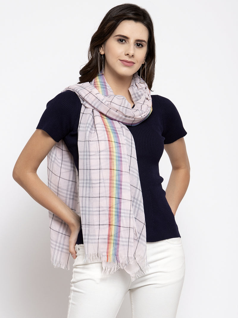 Women Pink Checked Stole.
