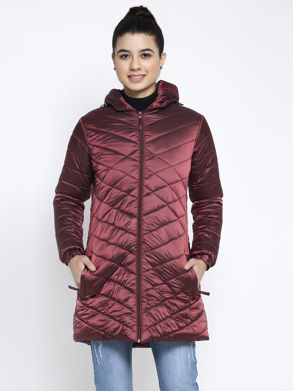Women Maroon Hooded Jacket